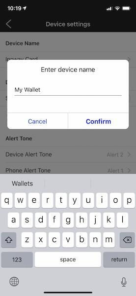 Innway app iOS rename card
